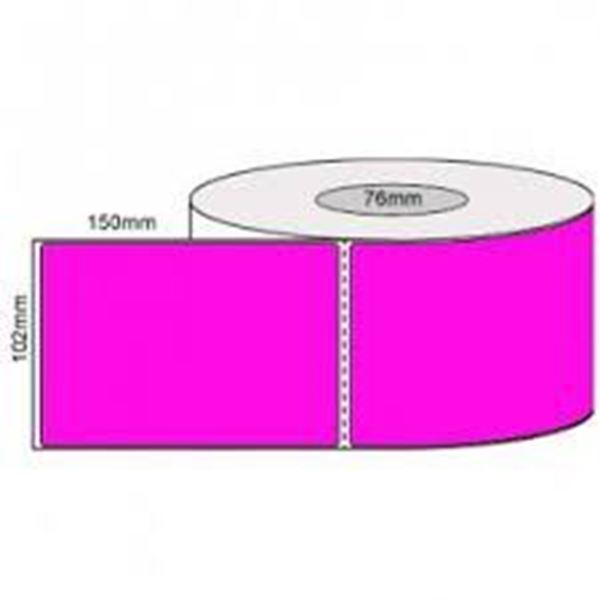 Picture of Fluro Pink 101mm x 149mm 76mm core 1 across Label 1,000per roll